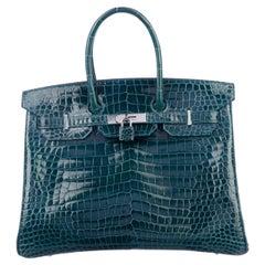 Hermes Birkin 35 Teal Crocodile Palladium Exotic Top Handle Satchel Tote Bag