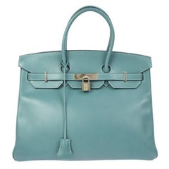 Hermes Birkin 35 Tiffany Blue Leather Top Handle Satchel Travel Shoulder Bag