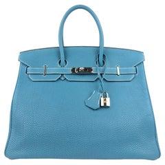 Hermes Birkin 35 Togo Blue Jean Palladium Hardware