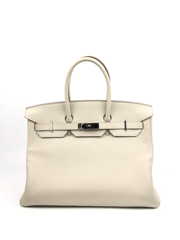 Hermes Birkin 35 Togo Craie Beige White Palladium Hardware 2016. Excellent Pristine Condition, light hairlines on hardware.  Shop with Confidence from Lux Addicts. Authenticity Guaranteed!