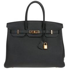 HERMES Birkin 35 Top Handle Bag in Black Togo Leather