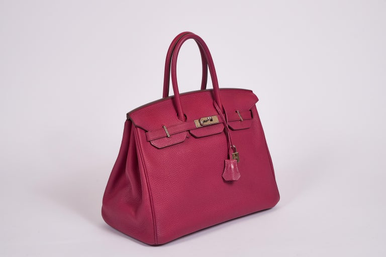 Hermès 35cm Birkin in tosca taurillon clemence leather with palladium hardware. Date stamp O  for 2011. Comes with clochette, tirette, two locks, keys, dust cover.