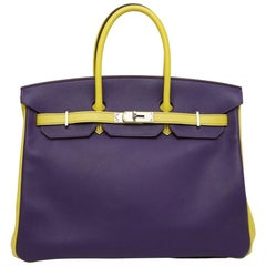 Hermès Birkin 35 ultra violet yellow lime