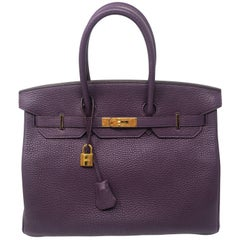 Hermès Birkin 35 Cassis Clemence Leather Bag