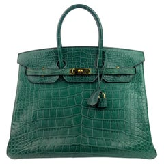 Hermes Birkin 35 Vert Titien Dark Green Matte Alligator Gold Hardware