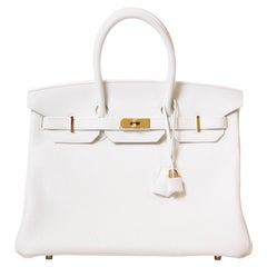 Hermès Birkin 35 White Taurillon Clemence GHW