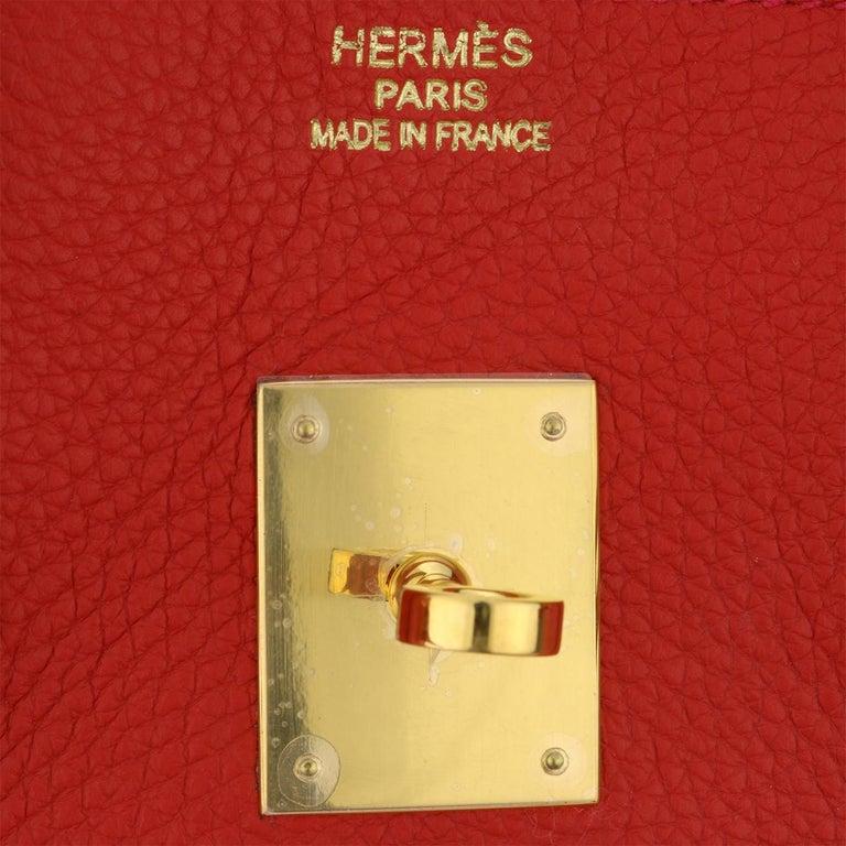 Hermès Birkin 35cm Bag Geranium Togo Leather with Gold Hardware Stamp P 2012 For Sale 5
