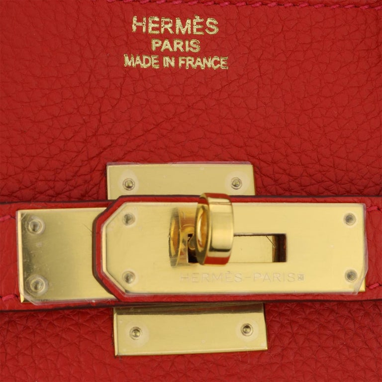 Hermès Birkin 35cm Bag Geranium Togo Leather with Gold Hardware Stamp P 2012 For Sale 6