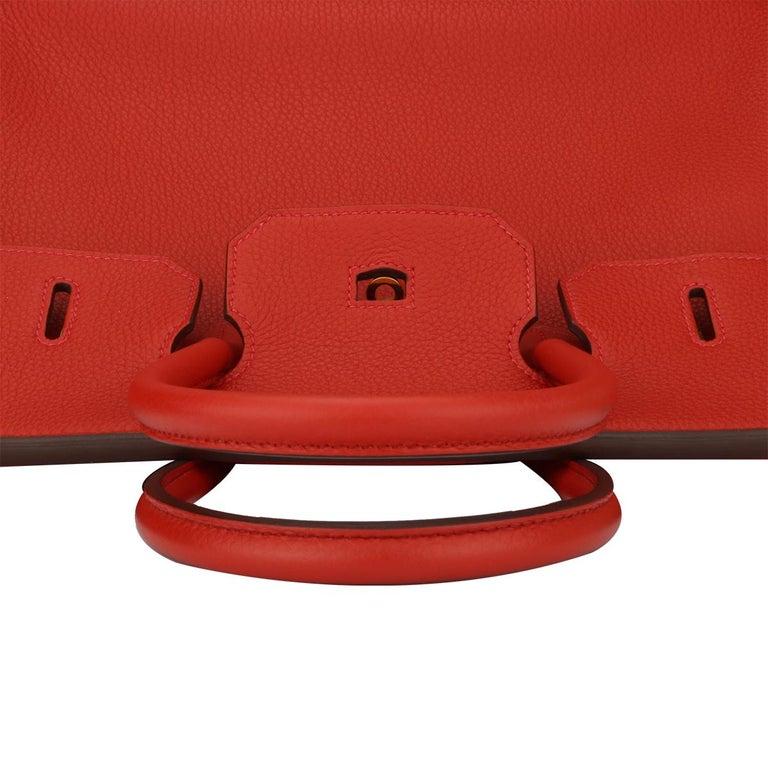Hermès Birkin 35cm Bag Geranium Togo Leather with Gold Hardware Stamp P 2012 For Sale 8