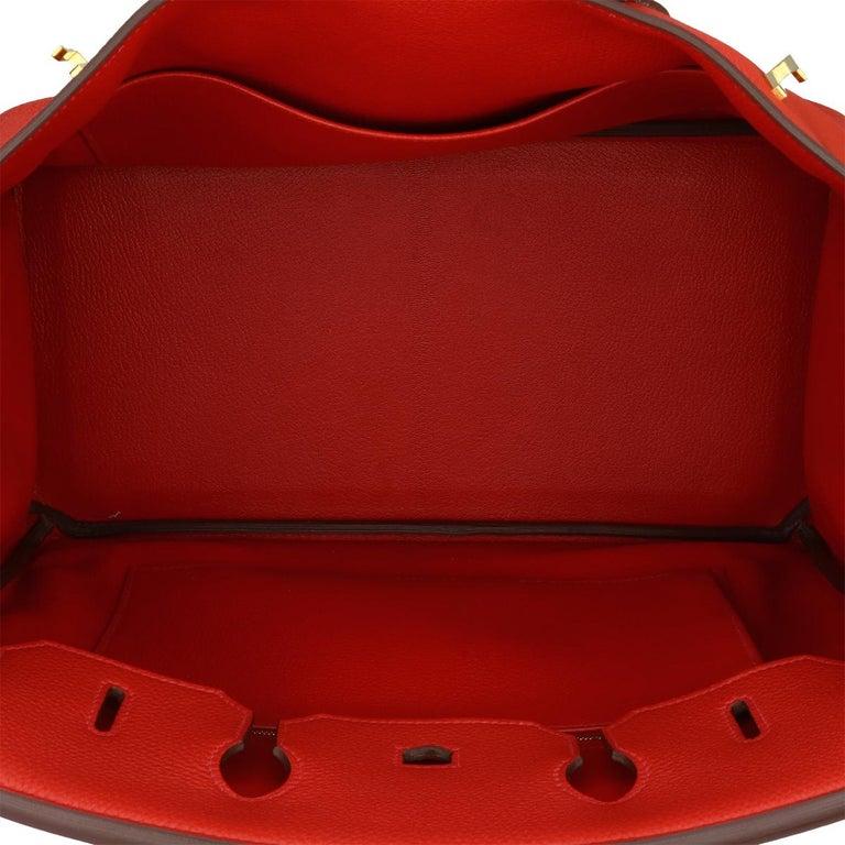 Hermès Birkin 35cm Bag Geranium Togo Leather with Gold Hardware Stamp P 2012 For Sale 9