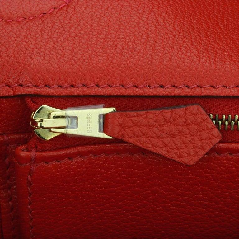 Hermès Birkin 35cm Bag Geranium Togo Leather with Gold Hardware Stamp P 2012 For Sale 11