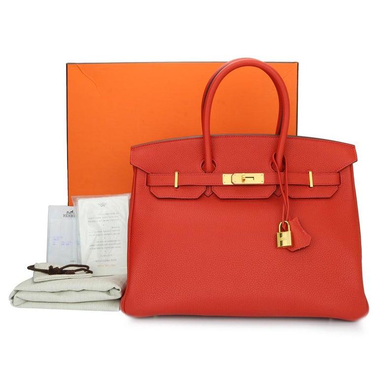 Hermès Birkin 35cm Bag Geranium Togo Leather with Gold Hardware Stamp P 2012 For Sale 12