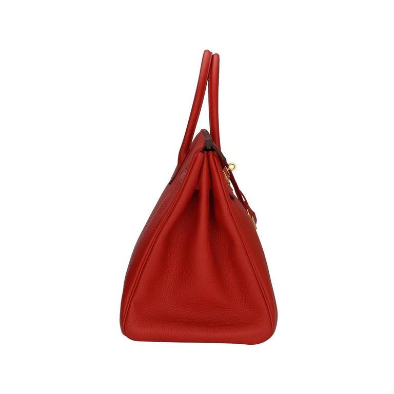 Red Hermès Birkin 35cm Bag Geranium Togo Leather with Gold Hardware Stamp P 2012 For Sale