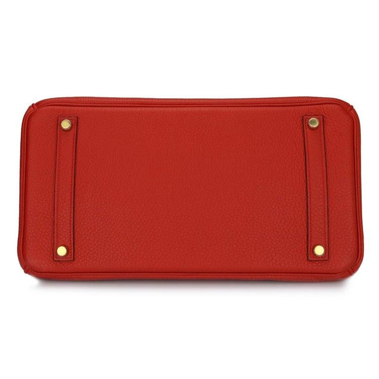 Women's or Men's Hermès Birkin 35cm Bag Geranium Togo Leather with Gold Hardware Stamp P 2012 For Sale