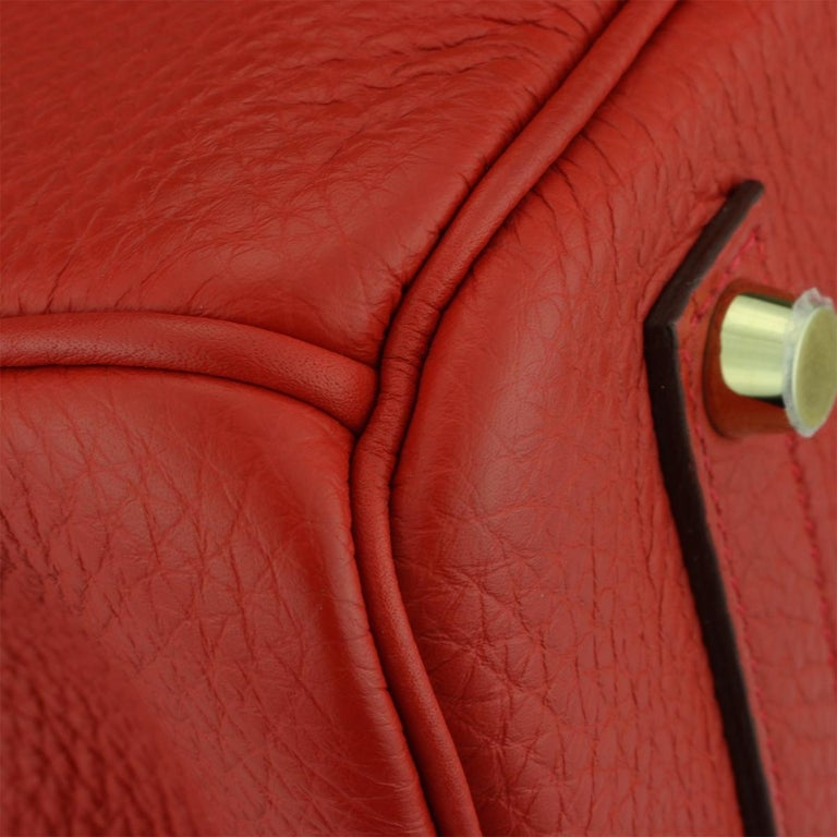Hermès Birkin 35cm Bag Geranium Togo Leather with Gold Hardware Stamp P 2012 For Sale 1