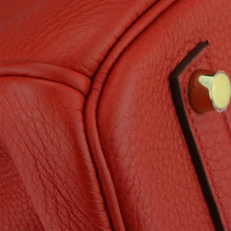 Hermès Birkin 35cm Bag Geranium Togo Leather with Gold Hardware Stamp P 2012 For Sale 3