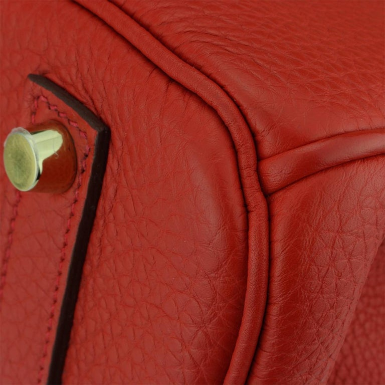 Hermès Birkin 35cm Bag Geranium Togo Leather with Gold Hardware Stamp P 2012 For Sale 4