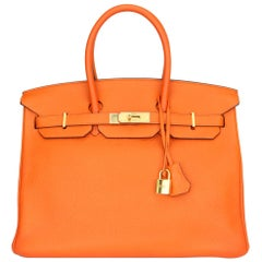 Hermès Birkin 35cm Bag Orange Togo Leather Gold Hardware Stamp N Year 2010