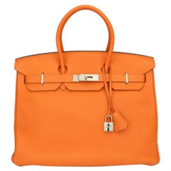 Hermès Birkin 35cm Bag Orange Togo Leather Palladium Hardware Stamp N Year 2010
