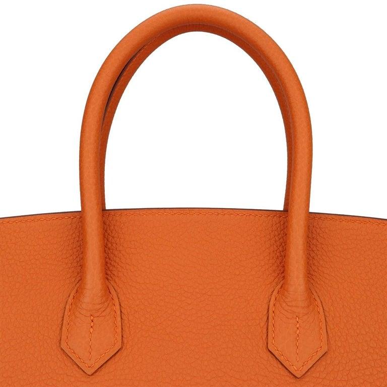 Hermès Birkin 35cm Bag Orange Togo Leather with Gold Hardware Stamp R Year 2014 For Sale 7