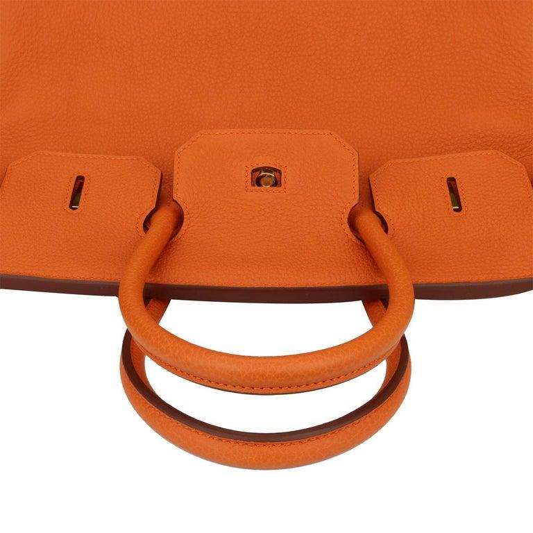 Hermès Birkin 35cm Bag Orange Togo Leather with Gold Hardware Stamp R Year 2014 For Sale 10