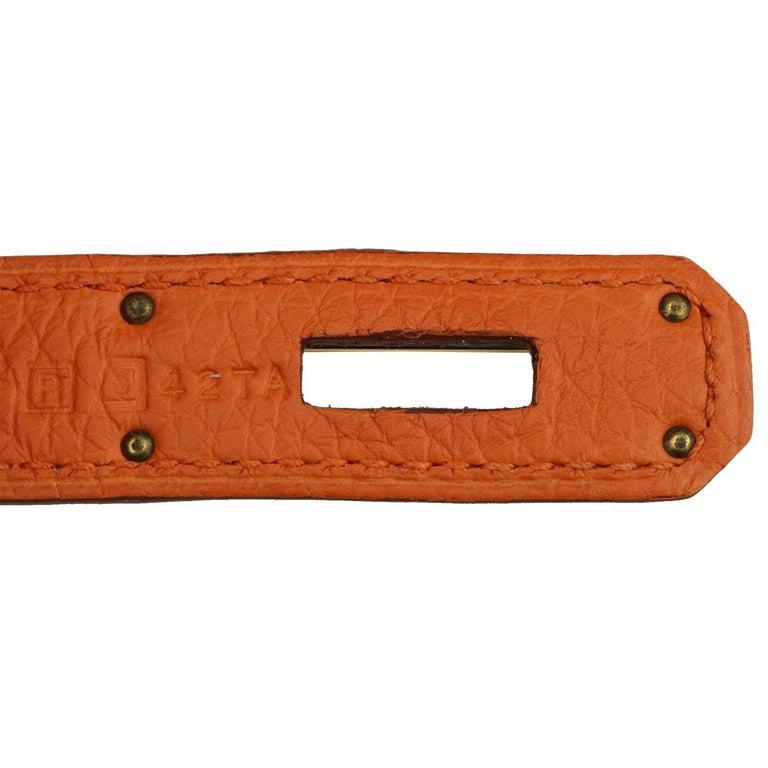 Hermès Birkin 35cm Bag Orange Togo Leather with Gold Hardware Stamp R Year 2014 For Sale 11