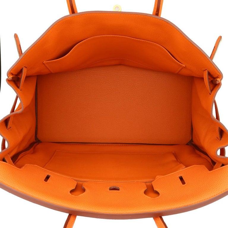 Hermès Birkin 35cm Bag Orange Togo Leather with Gold Hardware Stamp R Year 2014 For Sale 12