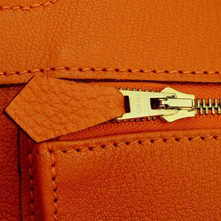 Hermès Birkin 35cm Bag Orange Togo Leather with Gold Hardware Stamp R Year 2014 For Sale 14