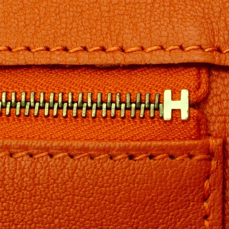 Hermès Birkin 35cm Bag Orange Togo Leather with Gold Hardware Stamp R Year 2014 For Sale 15