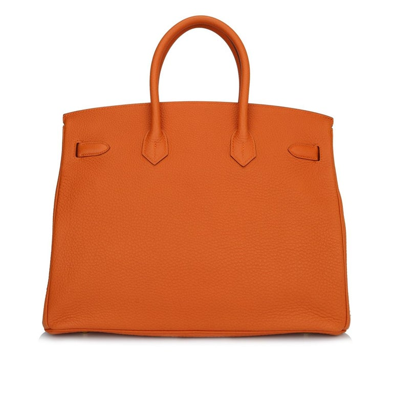 Hermès Birkin 35cm Bag Orange Togo Leather with Gold Hardware Stamp R Year 2014 In Excellent Condition For Sale In Huddersfield, GB
