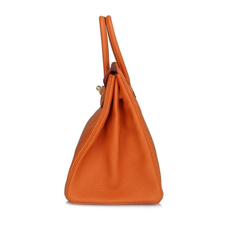 Women's or Men's Hermès Birkin 35cm Bag Orange Togo Leather with Gold Hardware Stamp R Year 2014 For Sale