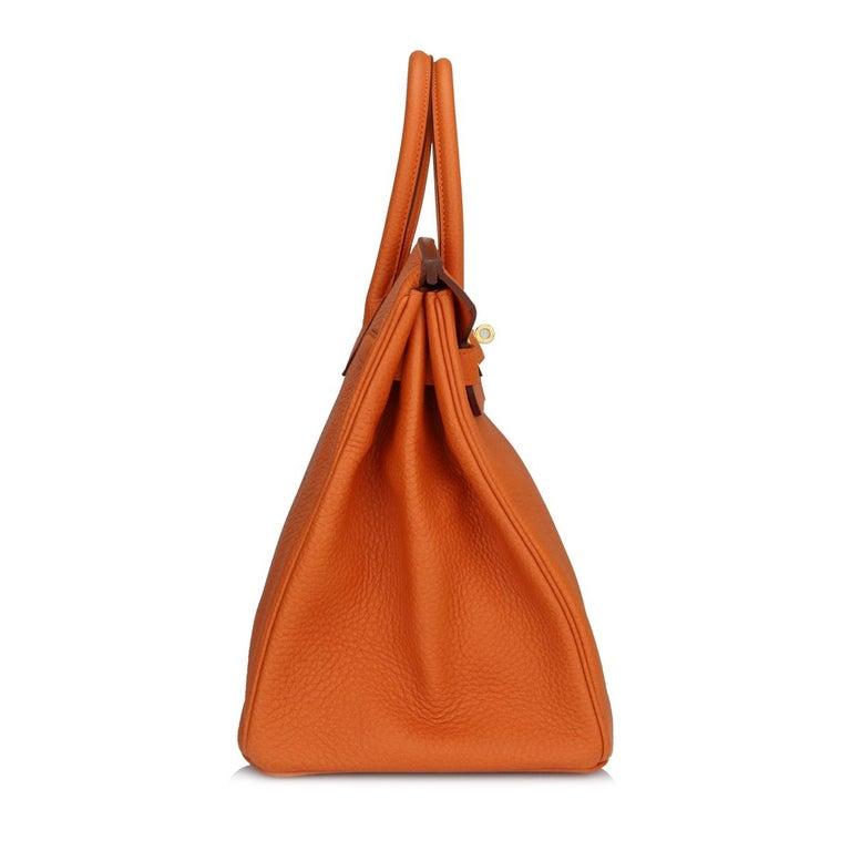Hermès Birkin 35cm Bag Orange Togo Leather with Gold Hardware Stamp R Year 2014 For Sale 1