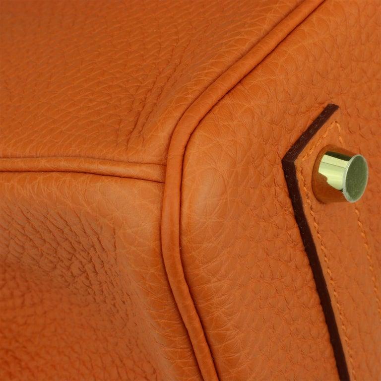 Hermès Birkin 35cm Bag Orange Togo Leather with Gold Hardware Stamp R Year 2014 For Sale 5