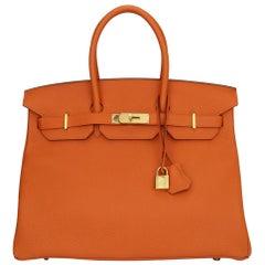 Hermès Birkin 35cm Bag Orange Togo Leather with Gold Hardware Stamp R Year 2014
