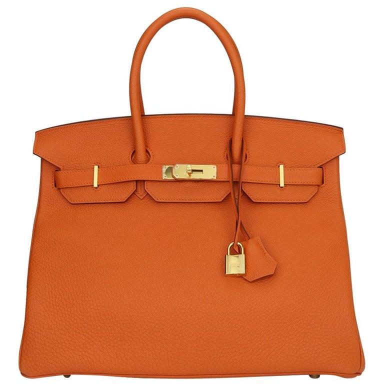 Hermès Birkin 35cm Bag Orange Togo Leather with Gold Hardware Stamp R Year 2014 For Sale