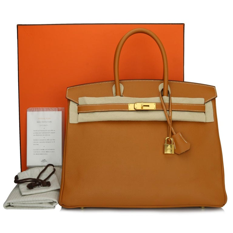 Authentic Hermès Birkin 35cm Toffee Epsom Leather with Gold Hardware Stamp A 2017.  This bag is still in a pristine condition. The leather still smells fresh as when new, along with it still holding to the original shape. The hardware still very