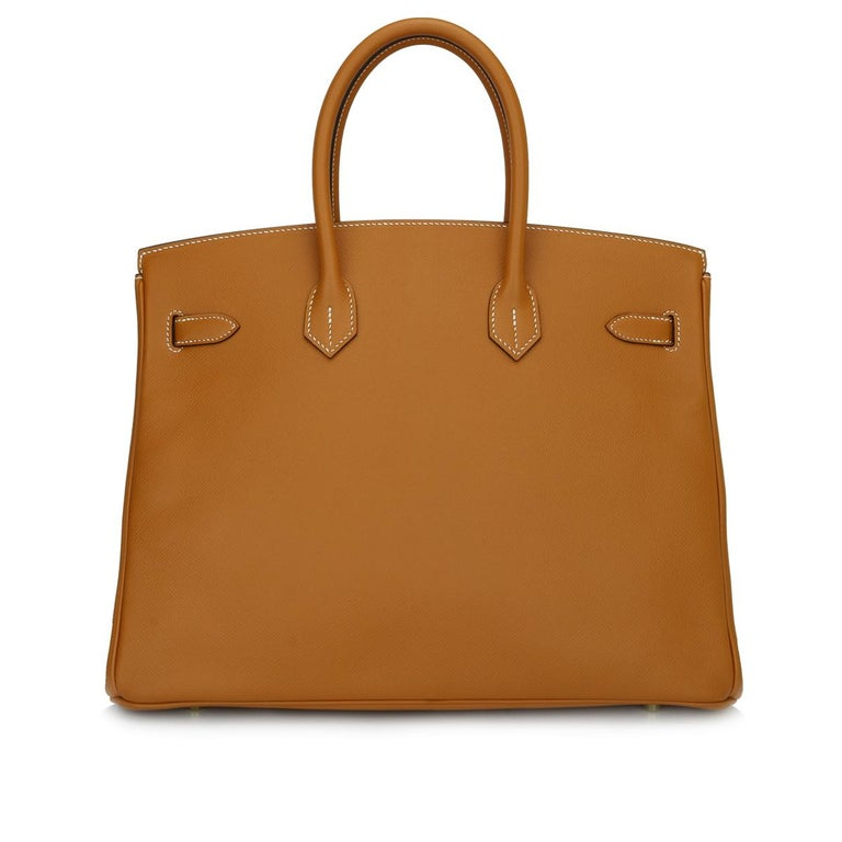 Brown Hermès Birkin 35cm Bag Toffee Epsom Leather with Gold Hardware Stamp A 2017 For Sale