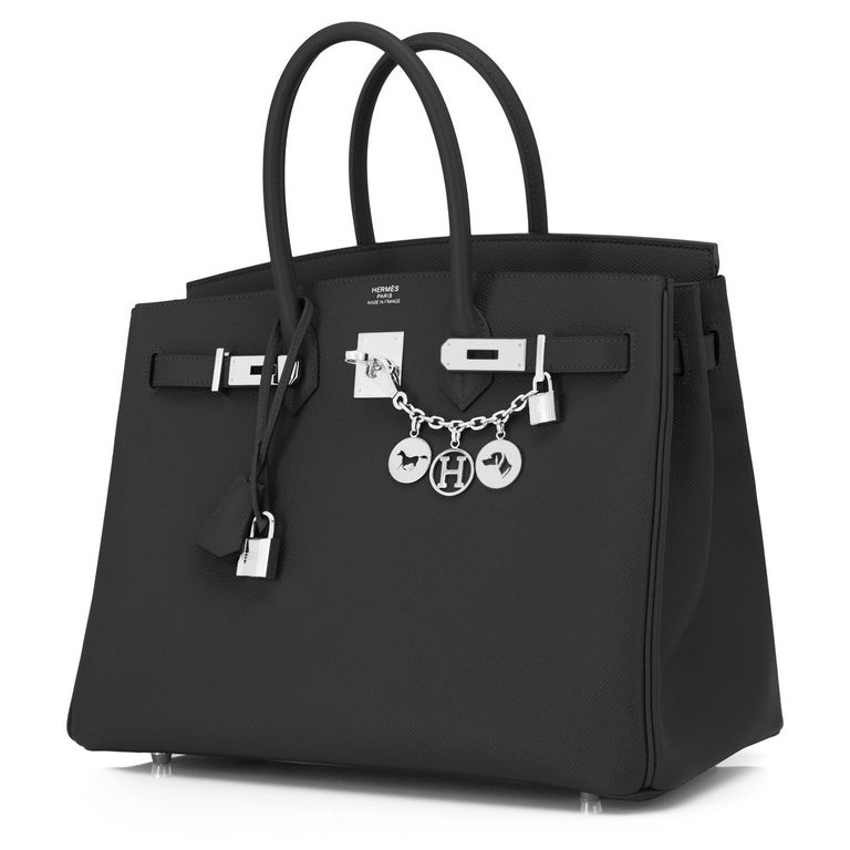 Hermes Black 35cm Birkin Palladium Hardware Epsom Bag Power Birkin NEW Brand new in box. Store Fresh.  Pristine condition (with plastic on hardware). Perfect gift! Comes with keys, lock, clochette, a sleeper for the bag, rain protector, and orange