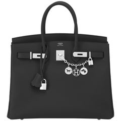 Hermes Birkin 35cm Black Epsom Bag Palladium Hardware NEW