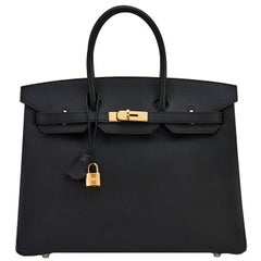 Hermes Birkin 35cm Black Gold Hardware Y Stamp, 2020