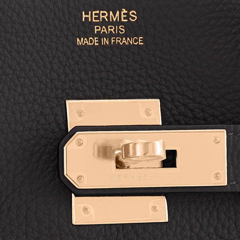 Hermes Birkin 35cm Black Rose Gold Hardware Togo Bag Z Stamp, 2021 For Sale 6