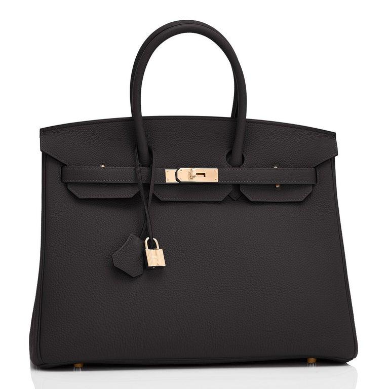 Women's or Men's Hermes Birkin 35cm Black Rose Gold Hardware Togo Bag Z Stamp, 2021 For Sale