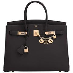 Hermes Birkin 35cm Black Rose Gold Hardware Togo Bag Z Stamp, 2021