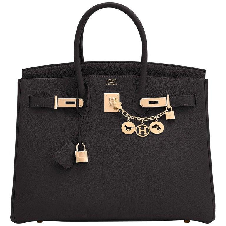Hermes Birkin 35cm Black Rose Gold Hardware Togo Bag Z Stamp, 2021 For Sale