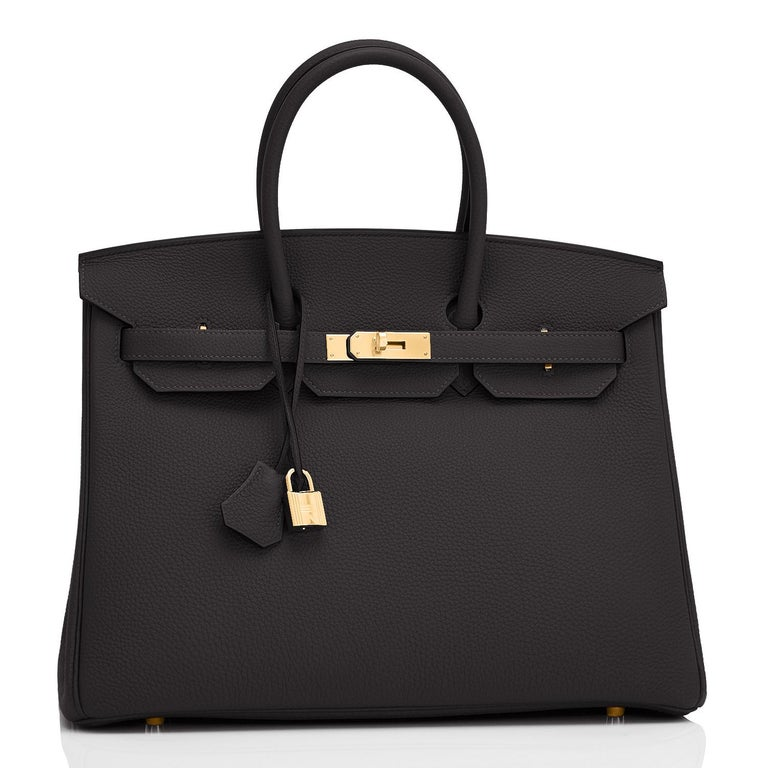 Hermes Black Togo 35cm Birkin Gold Hardware Power Birkin Y Stamp, 2020 Brand New in Box. Store fresh. Pristine Condition (with plastic on hardware). Just purchased from Hermes store; bag bears new 2020 interior Y stamp. Perfect gift! Comes with