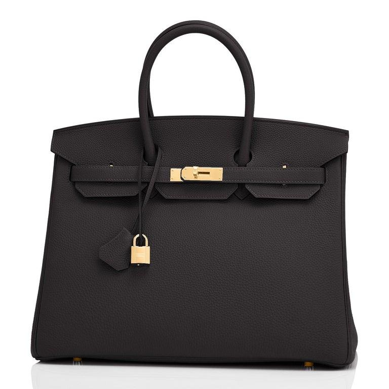 Women's or Men's Hermes Birkin 35cm Black Togo Gold Hardware Bag Y Stamp, 2020 For Sale