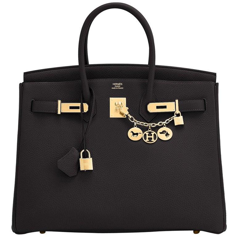 Hermes Birkin 35cm Black Togo Gold Hardware Bag Y Stamp, 2020 For Sale