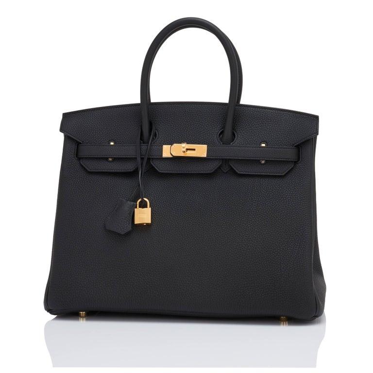Women's or Men's Hermes Birkin 35cm Black Togo Gold Hardware D Stamp Bag, 2019 For Sale