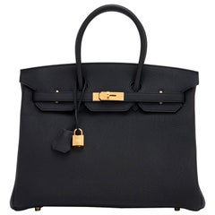 Hermes Birkin 35cm Black Togo Gold Hardware D Stamp Bag, 2019