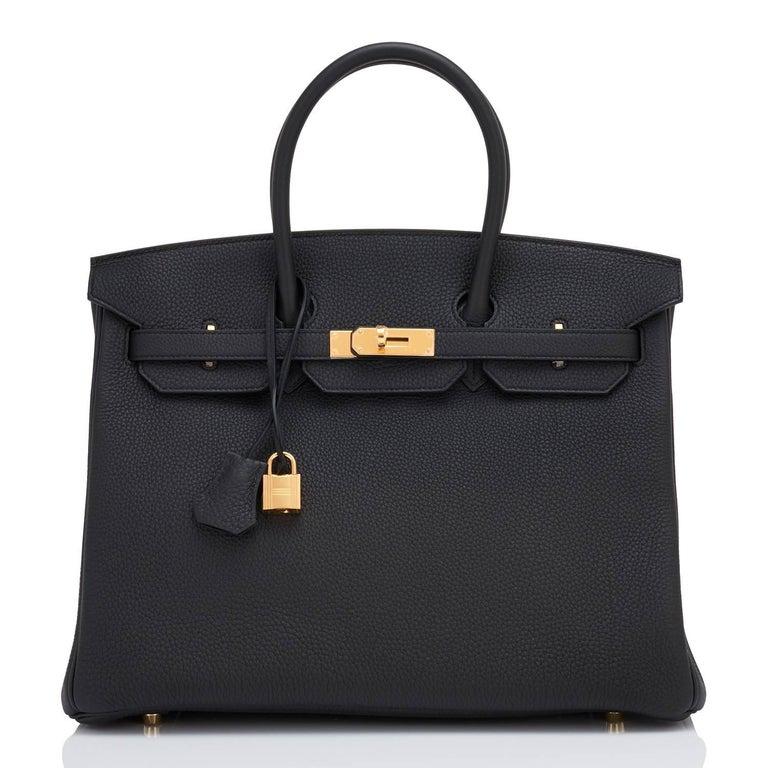 Hermes Birkin 35cm Black Togo Gold Hardware Y Stamp Bag, 2020 For Sale 6